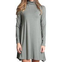 Olive Piko Turtleneck Swing Dress