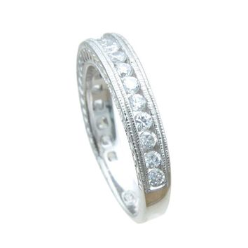 Plutus Brands 925 Sterling Silver Antique Style Wedding Band 0.25 Carat Weight- Size 8