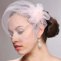 Mariell Tulle Birdcage Veil with Pouf and Crystals in 5 colors