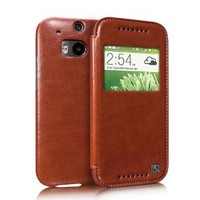 Moon Monkey Intelligent Window Well-selected Leather Ultra-thin Folio Cover Case for Htc One2/m8 (Brown)