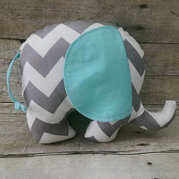 Gray & Aqua/ turquoise baby elephant plushie - gray chevron reversible stuffed animal - modern elephant gray aqua nursery decor