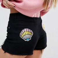 Prettylittlething Shell Patch Denim Shorts at asos.com