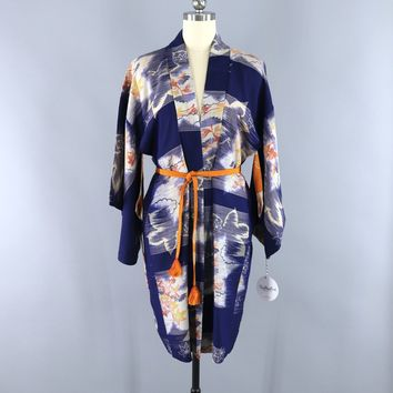 Vintage 1930s Silk Haori Kimono Cardigan Jacket / Meisen Ikat Blue Orange