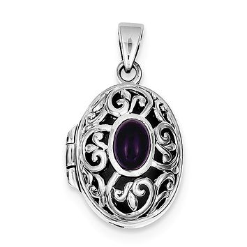 Sterling Silver Oval Genuine Amethyst Antiqued Filigree Locket