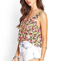 Vibrant Floral Flare Tank