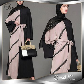Fashion Muslim Women Maxi Dress Abaya Lace Cardigan Patchwork Tunic Robe Jalabiya Patch Loose Middle East Arab Islamic Clothing