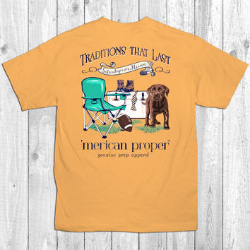 Merican Proper Traditions That Last Saturdays Football Dog Ties Cooler Preppy Southern Bright T-Shirt