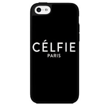 "White ""Célfie Paris"" Words on Black Background Hard Snap on Phone Case (iPhone 5c)"