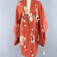 Vintage Silk KImono Cardigan / Terra Cotta Orange Art Deco Print