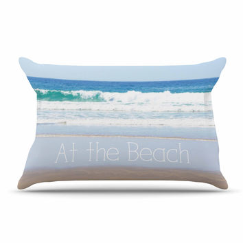 "Sylvia Coomes ""Life Is Better At The Beach"" Tan Blue Pillow Sham"