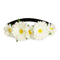 H&M - Hairband with Flowers - White - Ladies
