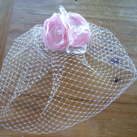 Ivory Birdcage Veil with Pink Flower Fascinator, 9 inch Short Veil, Pink Bridal hair piece, Wedding Veil, Custom Colors