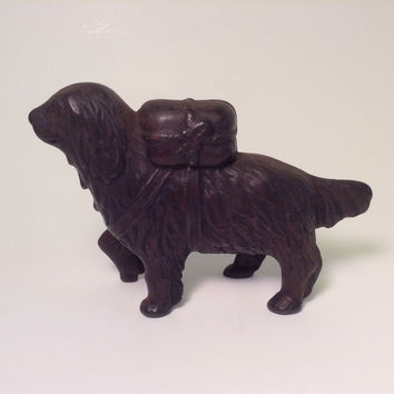 Newfoundland, AC Williams Newfoundland with Rescue Pack Still Bank, Cast Iron Dog Coin Bank, Canine Collectible / Home Decor, St Bernard
