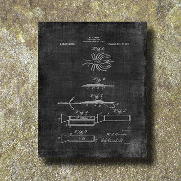 Fishing Tacle 1917 Patent Print Art Illustration Printable Instant Download Poster UP024gra