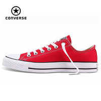 Original Converse all star canvas shoes women man unisex sneakers low classic women Skateboarding Shoes red color