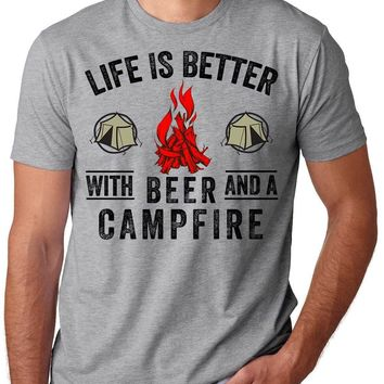 Life Is Better With Beer And A Campfire - Camping/Drinking T-shirt