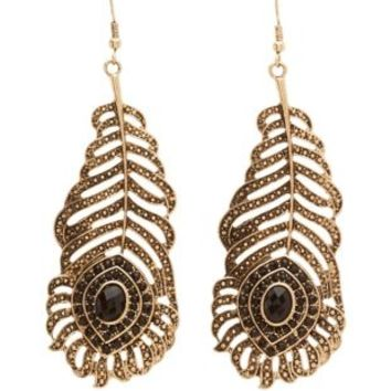 Gold Embellished Peacock Feather Earrings by Charlotte Russe