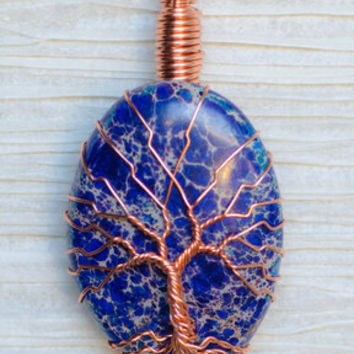 "Copper Wire Wrapped Lapis Lazuli Stone Pendant ""Tree of Life"""