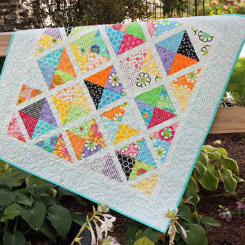 """Modern Baby Quilt in Moda's """"Good Morning"""" cotton fabrics in bright colors with turquoise blue and white"""
