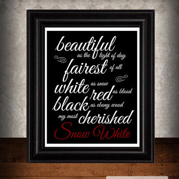 Snow White, Brothers Grimm Quote,Typography Print, Library Decor, Fairy Tale Decor, Steampunk Decor, Black and White, Dorm Room, 8x10 Print