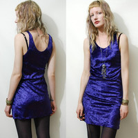 90s Vintage CRUSHED VELVET DRESS Mini Purple Grunge 1990s Vtg xxs xs