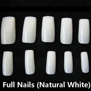 500pc Full Cover False Nail Tips Fingernail Manicure Acrylic gel DIY Clear white natural fake nails long