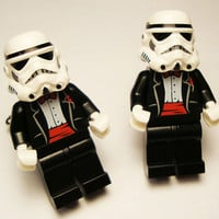 Full body Storm Trooper black with red wedding tuxedo LEGOS on silver toned cufflinks in FREE gift box