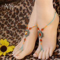 Turquoise Coral Carnelian Boho Barefoot Sandals