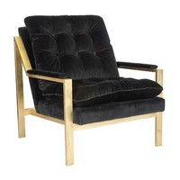 Worlds Away Cameron Chair with Velvet Upholstery