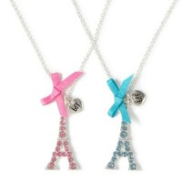 Crystal Eiffel Tower Best Friends Pendant Necklace – Claire's