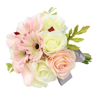 "9"" Bouquet - Quality Artificial Flowers Ivory and Light Pink Roses, Calla Lilies, and Daisies"