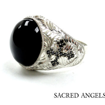 Men's Silver Cross Ring With Black Diamonds %100 Hand Engraved by Sacred Angels