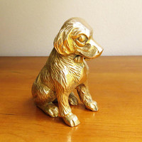 Vintage Brass Dog Figurine Mid Century Gold Dog Statue Brass Dog Brass Figurine Golden Retriever