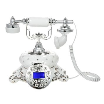 White Ceramic Vintage Retro Corded Landline Phone Desk Telephone Decor with Blue Backlight Display Push Button Long Curly Handset Cord