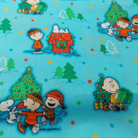 Charlie Brown Christmas Snoopy Fabric Charlie Brown Christmas Fabric Holiday Fabric Linus Lucy Quilting Fabric Craft Fabric Cotton Fabric