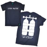 Open Water Men's Front & Back Design Scuba Diving Tank Design T-Shirt