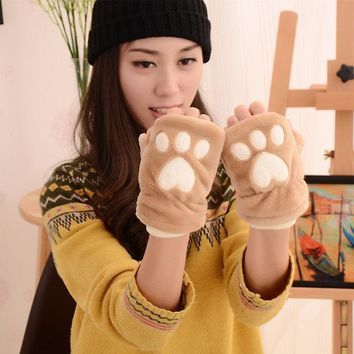 1 pair Hot sale Cute Cat Claw Paw Mittens Plush Lovely Fingerless Gloves Soft Winter Half Finger