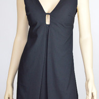 Black Straight Dress Cut Out Front