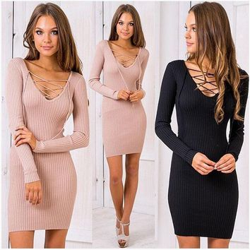 Women cross lace up V-neck Slim Fit Package Hip BodyconTop Sweater Dress
