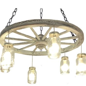 """30"""" Distressed White Wagon Wheel Chandelier. FREE SHIPPING"""
