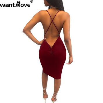 Wantmove 6 colors women 2018 summer beach dress sexy slim knee-length dresses night club wear women clothing XD958