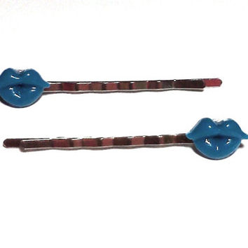 Blue Lips Bobby Pins Cabochon Hair Pins Party Bachelorette Accessories