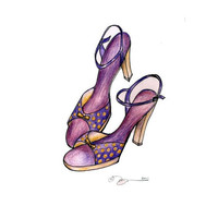 Lavender Polka Dot Dancing Shoes Print of Drawing in by baybeari