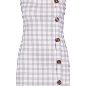 Petite Mock Horn Button Through Checked Shift Dress | Boohoo