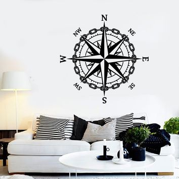 Vinyl Wall Decal Nautical Compass Sailor Ocean Sea Style Stickers Unique Gift (1984ig)