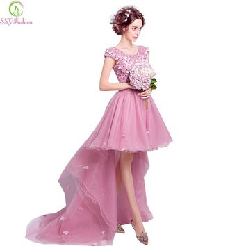 SSYFashion New Sweet Rose Pink Lace Flower Cocktail Dress Bride Banquet Embroidery Short Front Long Back Sweep Train Party Gown