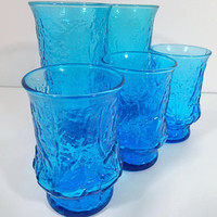 Anchor Hocking Rainflower Azure Blue Tumblers and Juice Glasses Vintage Mid Century 1970's  textured glassware mod flowers textured glass