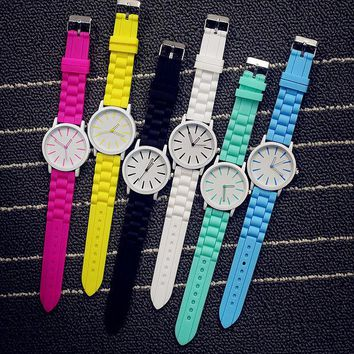 VLXZGW7 All-match Cute Multicolor Unisex Watch Couple Jelly Watch