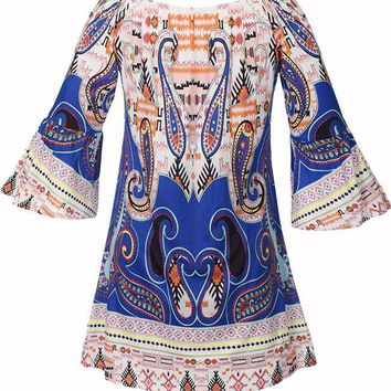 Casual Loose Paisley Printed Bell Sleeve Shift Dress
