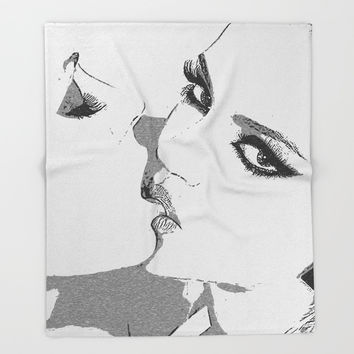 Dirty girls love to play some Naughty games - sexy lesbians kissing, biting lips, hot erotic artwork Throw Blanket by Casemiro Arts - Peter Reiss
